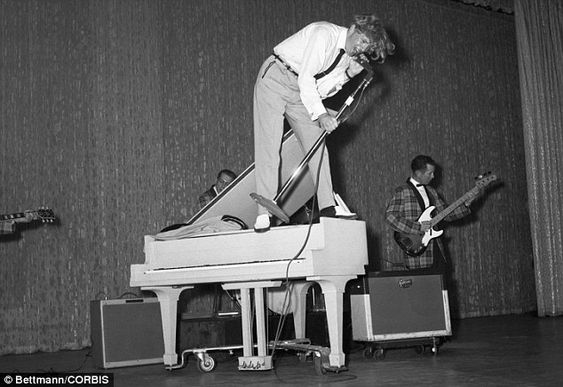 Fender and Gibson amp with back band of Jerry Lee Lewis. He was famous for his energetic performances - he is pictured above in Manhattan in 1958 on top of his piano