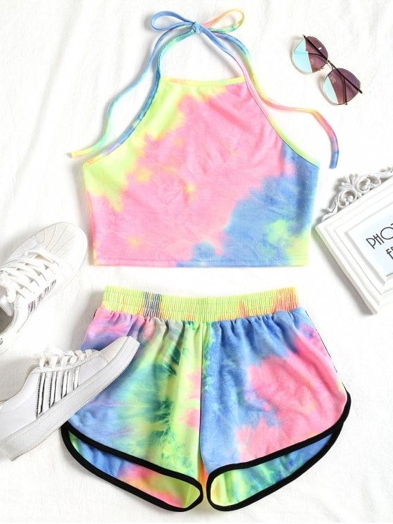 Pep Up Your Sportswear With Our Tie Dyed Two Piece Set The Crop