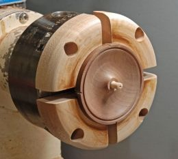 Lathe Chucks - Homemade lathe chucks constructed from pine, maple, and PVC.