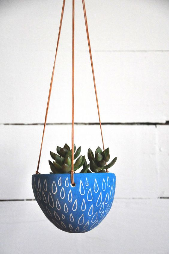 Hand Carved Ceramic Hanging Planter w/ Raindrop Design / Bright Blue Succulent  Planter / Cactus Planter / Sgraffito Pottery