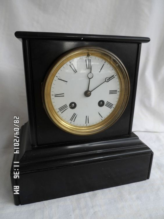 Antique French Black Slate Mantle Clock Clocks