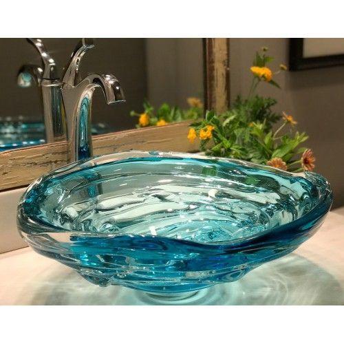 Amber Handmade Countertop Glass Round Vessel Bathroom Sink In Wooden Vessel Sink Bathroom Glass Bathroom Sink