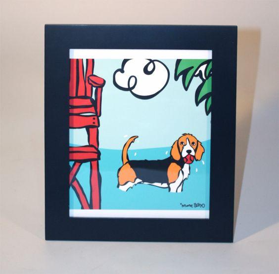 Marc Tetro Beach Beagle Framed Print
