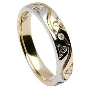 14K Diamond Trinity Knot Celtic Wedding Rings for Ladies
