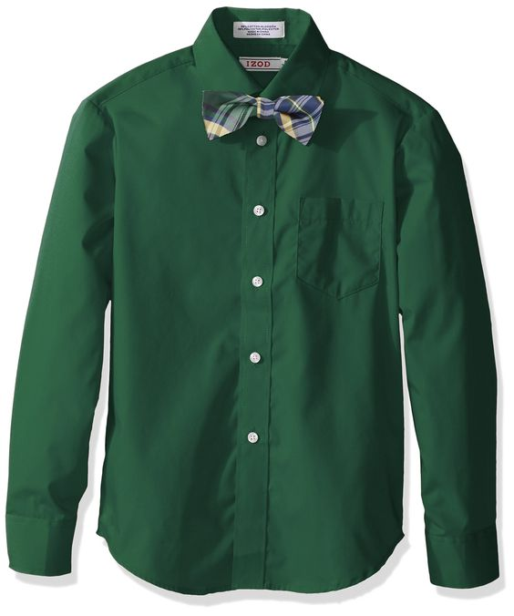 Izod Kids Big Boys Long Sleeve Solid Broadcloth Shirt and Bow Tie Set, Hunter, 20. Long sleeve. Front chest pocket.