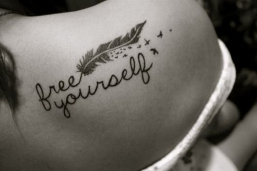 """""""Free Yourself"""" Feather and Birds Tattoo"""