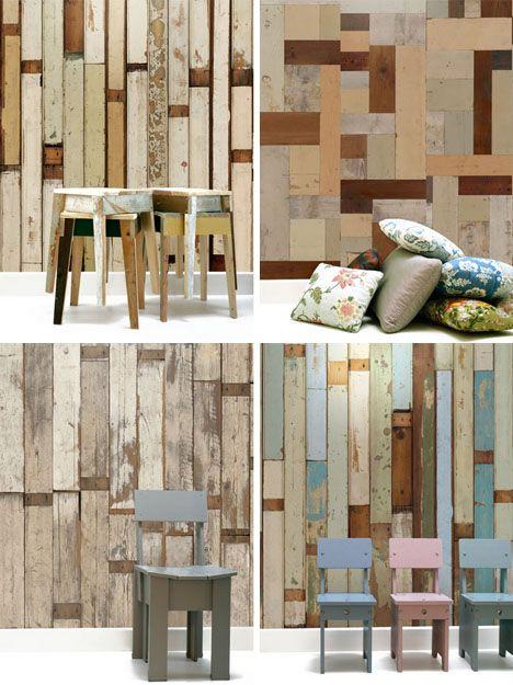 scrap wooden faux wallpapers