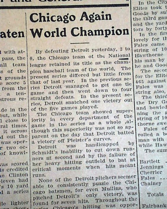 The last time the Cubs won the World Series... FITCHBURG DAILY NEWS, Massachusetts, October 15, 1908 newspaper...: