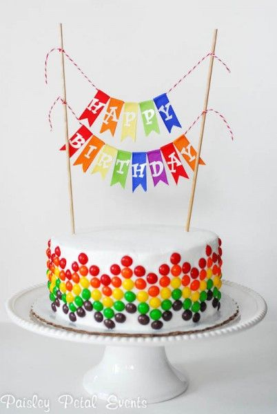 10 DIY Birthday Cake Ideas - SNAP! I like the skittles on the side of the cake!