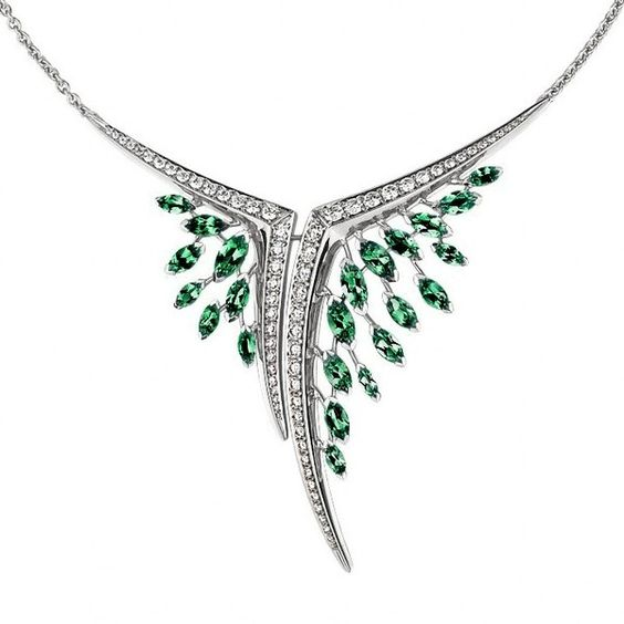 Womens Necklaces Shaun Leane Diamond And Emerald Aerial Necklace ($24,235) ❤ liked on Polyvore featuring jewelry, necklaces, ribbon necklace, diamond jewelry, polish jewelry, diamond necklace and diamond jewellery