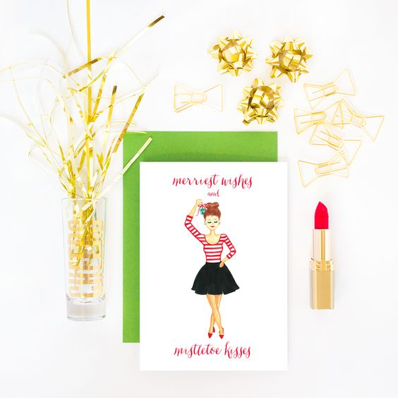Simply Jessica Marie Greeting Card Photo Styling | Merriest Wishes and Mistletoe Kisses