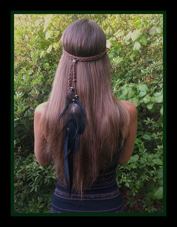 noir bandeau de plume, boho noir bandeau, bandeau de plume, boho serre-tête, bandeau hippie, bandeau gitane, amérindien, indien