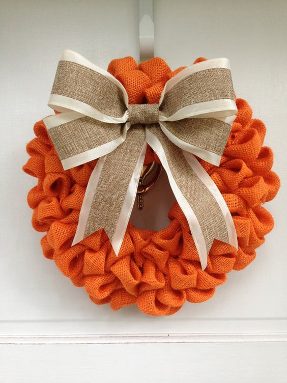 Orange burlap wreath with burlap bow thanksgiving decor for Burlap wreath with lights