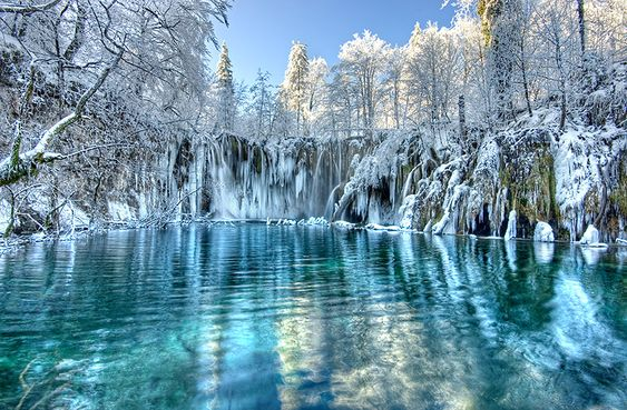 What an incredible image! Taken in winter at the Plitvice lakes in Croatia - a series of bright blue lakes linked by waterfalls. Gorgeous!