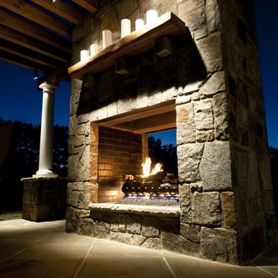 Double sided outdoor fireplace gardens and landscaping pinterest shelves wooden shelves for Double sided fireplace design