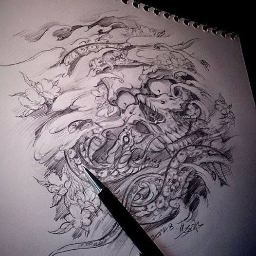 chronic ink tattoo toronto tattoo snake and skull sketch