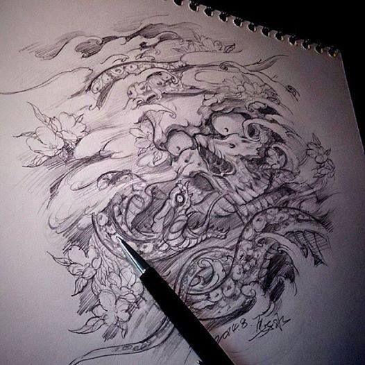 chronic ink tattoo toronto tattoo snake and skull sketch