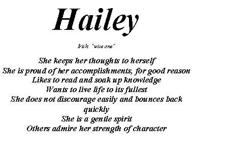 meaning of the name hailey | our most popular name meanings click once for meaning