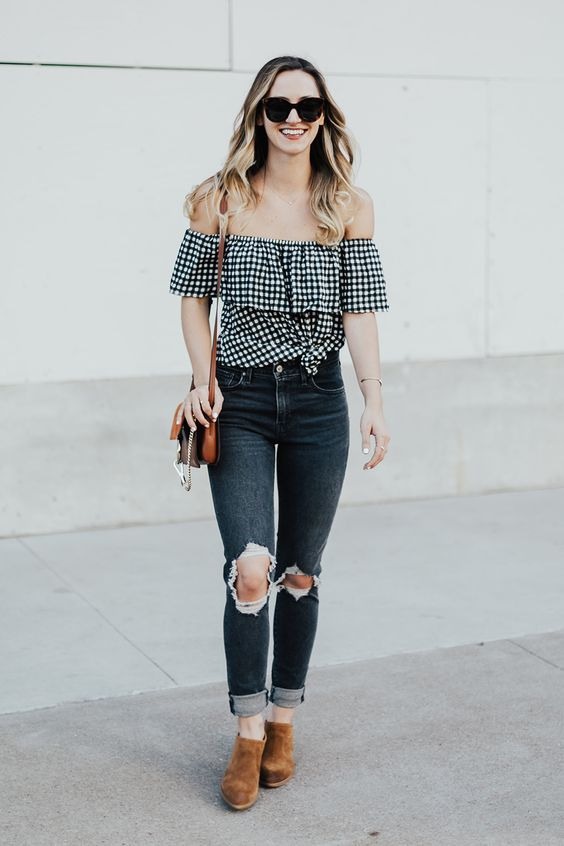 Gingham Off Shoulder Top | LivvyLand