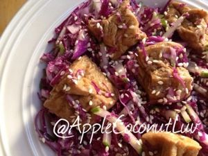 Red Cabbage & Cucumber Salad w/Five-Spice Tofu #vegan #gluten-free