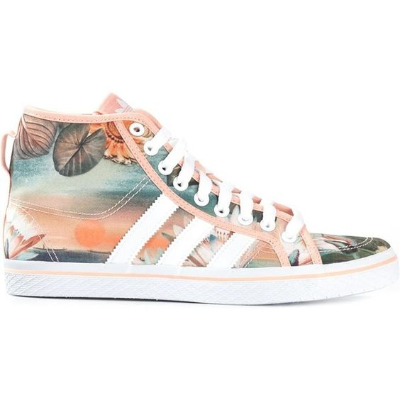 Adidas Honey Sneakers ($76) ❤ liked on Polyvore featuring shoes, sneakers, adidas, trainers, zapatillas, white, white trainers, floral flat shoes, lace up flat shoes and white lace up sneakers