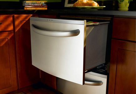 Double dishwasher drawers for wet bar, single for basement!