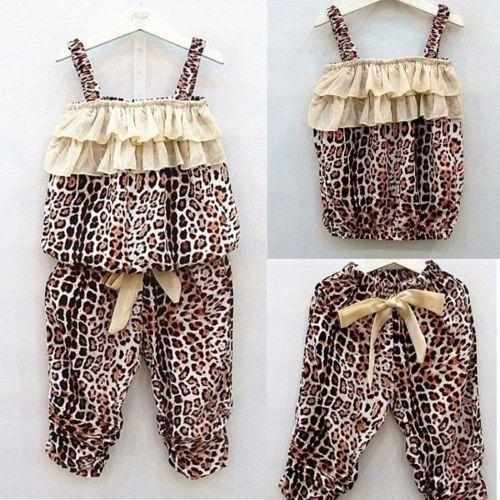 awesome Hot Sale Children's Baby Girls Summer clothes Leopard Vest+Pants sets Outfits 2pcs Grils' Sets