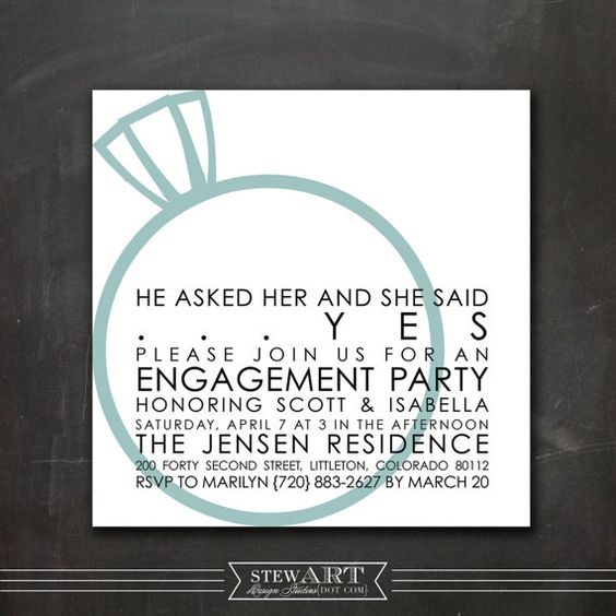 Personalized ENGAGEMENT PARTY INVITATION by stewartdesignstudios – Personalized Engagement Party Invitations