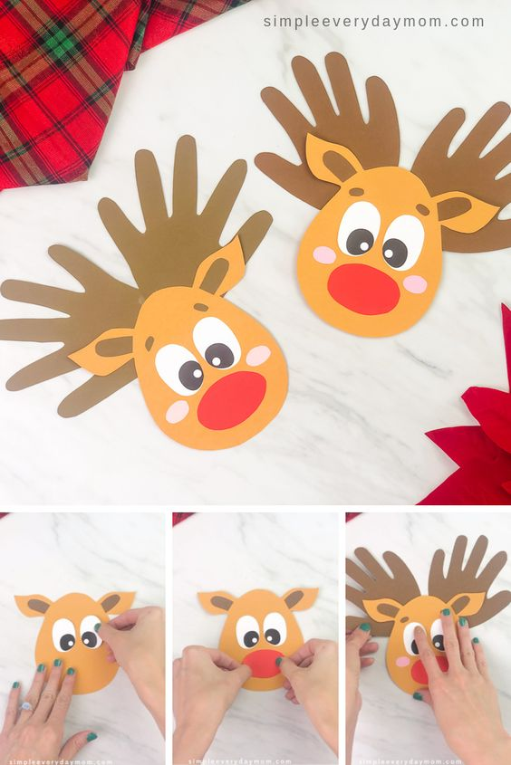 Make this simple and cute handprint reindeer craft with the kids this Christmas season! It's a cute keepsake craft to give to Mom, Dad or grandparents and comes with a free printable template.   #simpleeverydaymom #handprintcrafts #reindeercrafts #kidscrafts #christmas #christmascrafts #christmascraftsforkids #craftsforkids