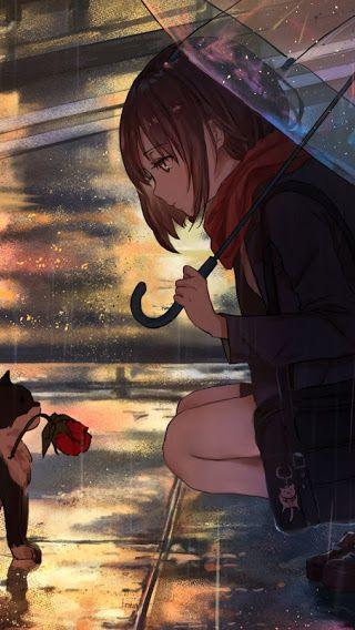 Anime Girls Raining Cat 3840x2160 Wallpaper Menina Anime