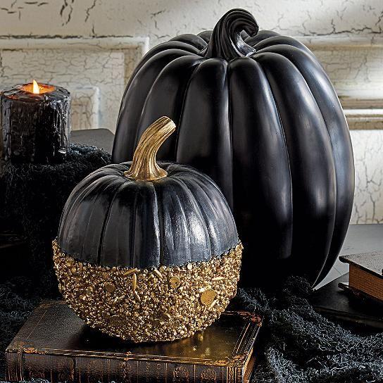 Black And Gold Glitter Pumpkin Glitter Pumpkins Pumpkin
