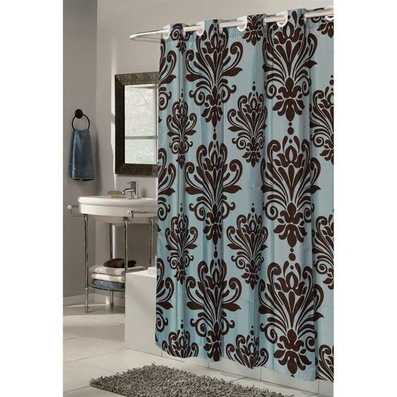 Blue Brown Traditional Damask Print Hookless Fabric Shower Curtain