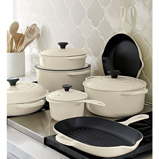 Le Creuset® Signature Enameled Cast Iron Cookware in Cream I Crate and Barrel - I have two of these items, might want more... ;-)