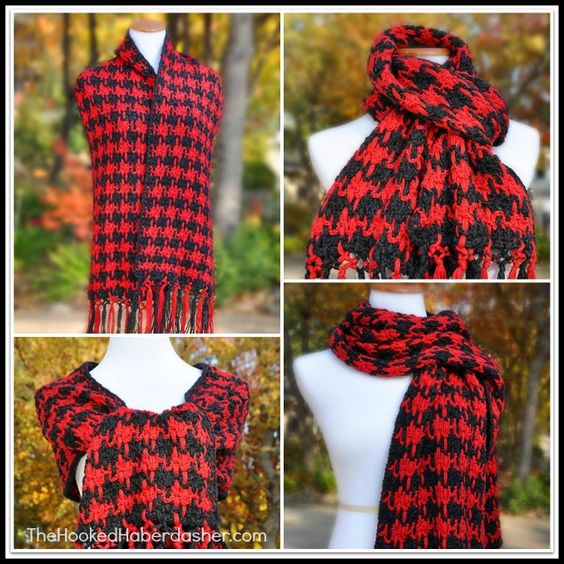 Knitting Pattern For Houndstooth Scarf : Houndstooth scarf, Houndstooth and Scarf crochet on Pinterest