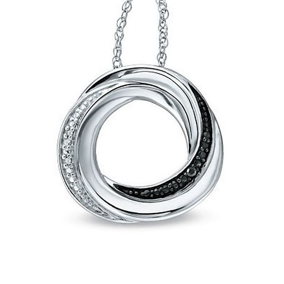 "Sterling Silver Black and White Diamond Accent Circle Pendant with 18"" Chain #Pendant"