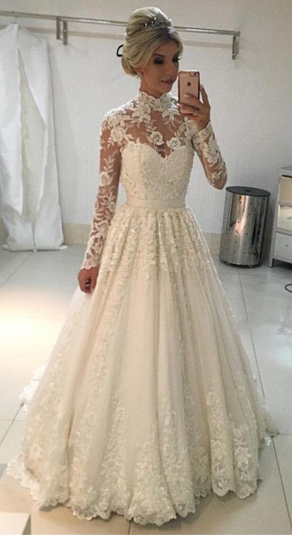 Vintage A Line High Neck Long Sleeves Lace Wedding Dresses Floor Length Long Sleeve Wedding Dress Lace High Neck Lace Wedding Dress High Neck Wedding Dress