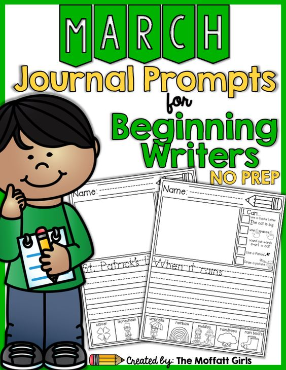 Journal Prompts for Beginning Writers for the month of March