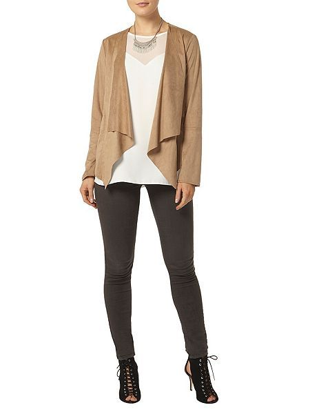Dorothy Perkins Suedette Waterfall Jacket Brown - House of Fraser