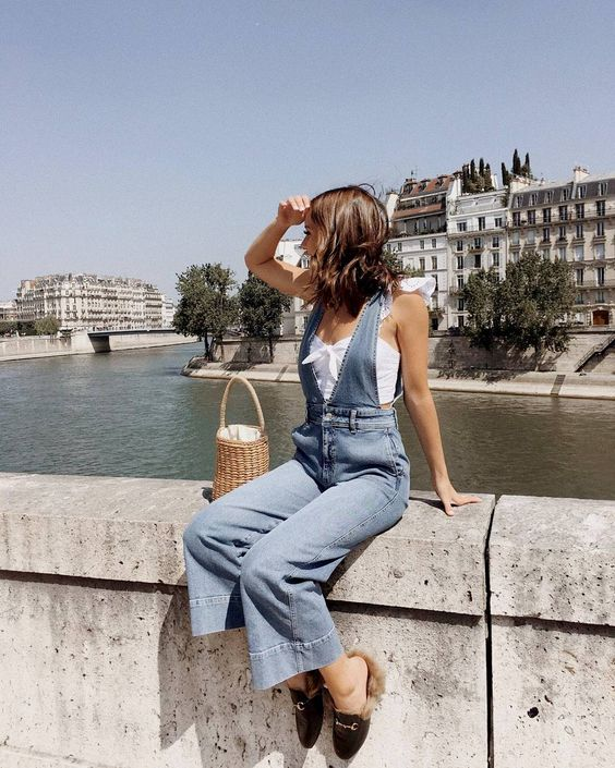 15 Summer Outfits That Are Completely Achievable women's denim overall, summer style, street style, how to style, casual outfit, everyday wear, chic, feminine, minimal