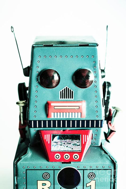 Retro eighties style photo on a isolated blue tin robot on a white background. Past in play by Jorgo Photography - Wall Art Gallery