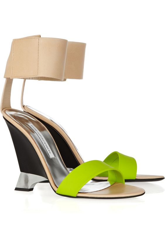 Trend #1 Neon! by Diane von Furstenberg | Elan leather and rubber wedges | from our Summer Trends blog - http://blog.hipiti.com - found on NET-A-PORTER.COM