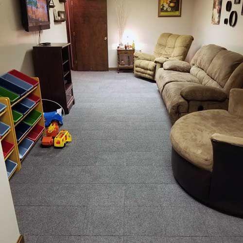 Basement Modular Carpet Tiles With A Raised Lock Togther Base In 2020 Carpet Tiles Basement Carpet Tiles For Basement Tile Basement Floor