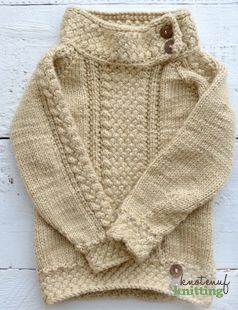 Little Ella's Sweater is a knitting pattern for a raglan sweater. Enjoy a challenging, top down knit that features the braided basket stitch. Click through to get the pattern from KnotEnufKnitting.