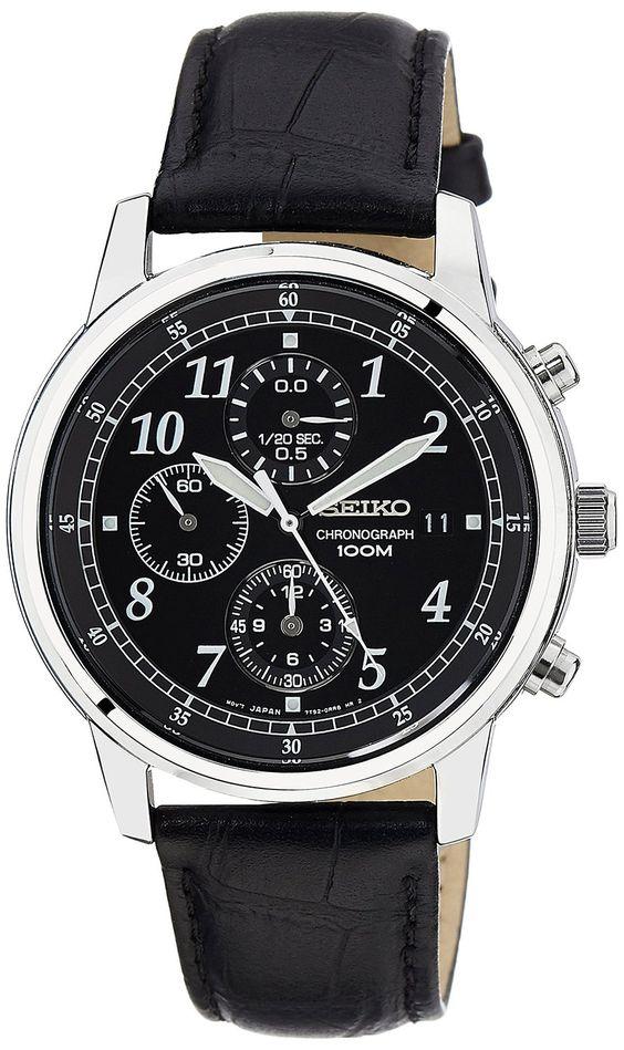 Amazon.com: Seiko Men's SNDC33 Classic Black Leather Black Chronograph Dial Watch: Seiko: Watches