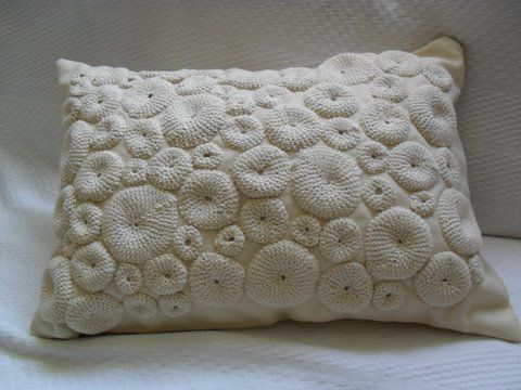 Almofada de linho e crochê! Crochet - pillow