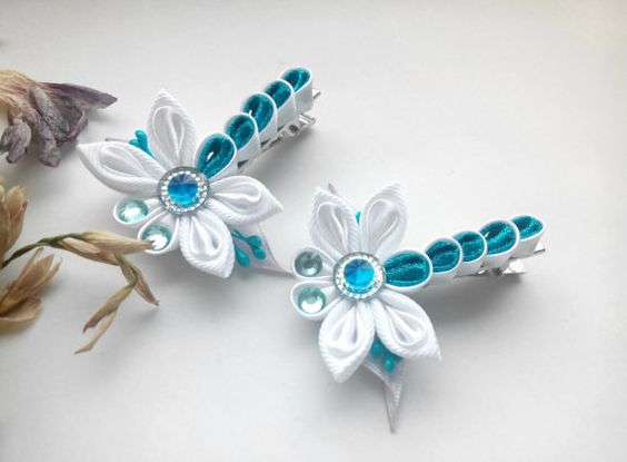 Set of two  hair clips/Kanzashi flower/Kanzashi by AirinFlowers