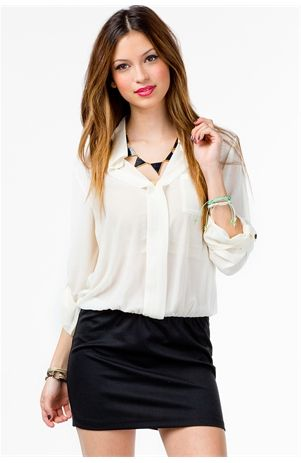 Split Collar Mini Dress