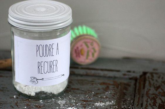 Poudre à récurer évier/salle de bain. 1/3 argile blanche ou verte, 1/3 bicarbonate de sodium, 1/3 sel de table, Zeste de citron.