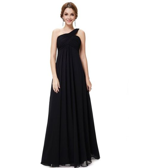 Ever Pretty Women's One Shoulder Padded Ruffles Fashion Long Evening... ($32) ❤ liked on Polyvore featuring dresses, gowns, long black dress, formal evening gowns, long formal gowns, long evening dresses and bridesmaid dresses