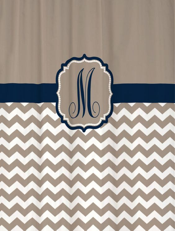 Shower Curtain - Taupe Beige Chevron with Navy Accents - 69x70 ...